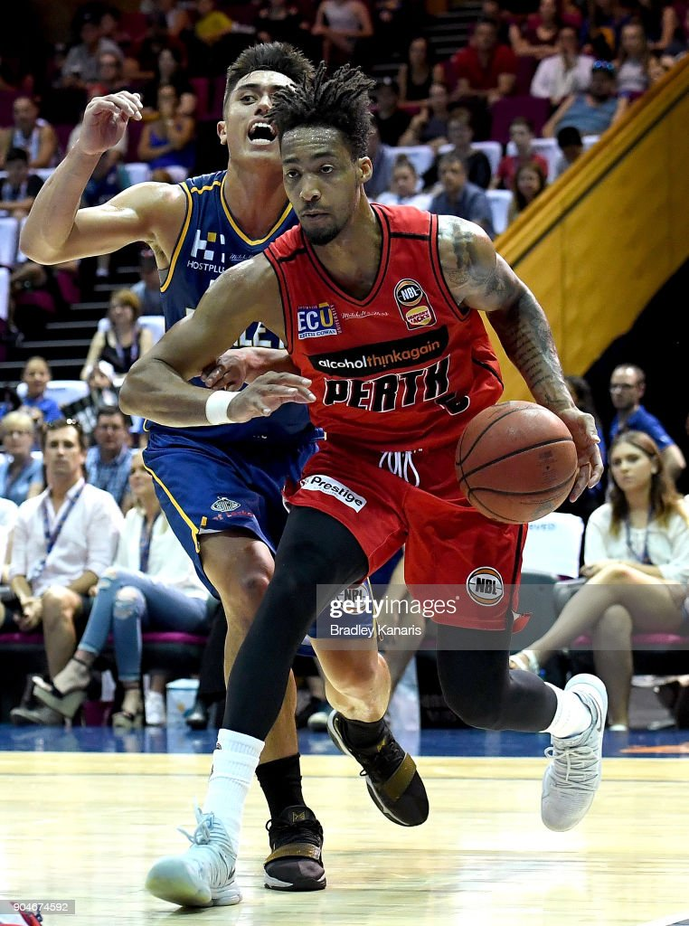 Jean-Pierre Tokoto of the Wildcats breaks away from the defence during the round 14 NBL match between the Brisbane Bullets and the Perth Wildcats at Brisbane Convention & Exhibition Centre on January 14, 2018 in Brisbane, Australia.