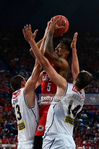JeanPierre Tokoto of the Wildcats drives to the basket during the round 10 NBL match between the Perth Wildcats and the Brisbane Bullets at Perth...