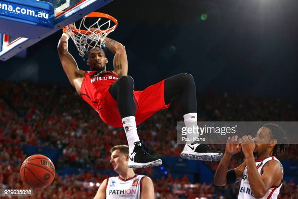 JeanPierre Tokoto of the Wildcats dunks the ball during game two of the NBL Semi Final series between the Adelaide 36ers and the Perth Wildcats at...