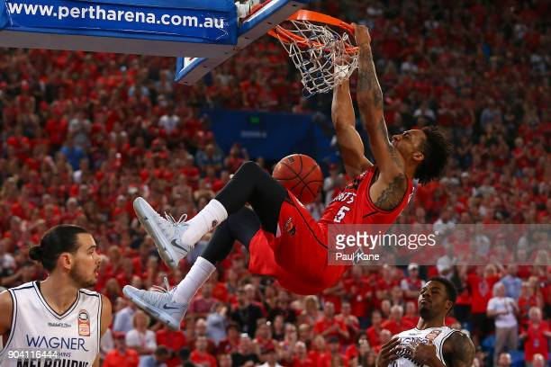 JeanPierre Tokoto of the Wildcats dunks the ball during the round 14 NBL match between the Perth Wildcats and Melbourne United at Perth Arena on...