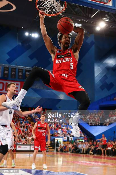 Jean-Pierre Tokoto of the Wildcats dunks the ball during the round nine NBL match between the Perth Wildcats and the Adelaide 36ers at Perth Arena on...
