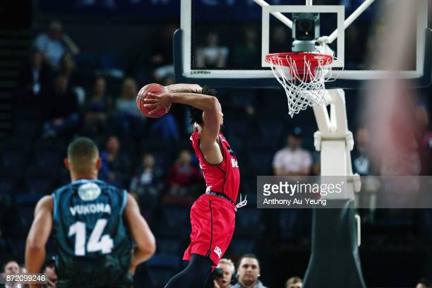 JeanPierre Tokoto of the Wildcats goes up for a dunk during the round six NBL match between the New Zealand Breakers and the Perth Wildcats at Spark...