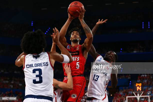 JeanPierre Tokoto of the Wildcats puts a shot up during the round nine NBL match between the Perth Wildcats and the Adelaide 36ers at Perth Arena on...