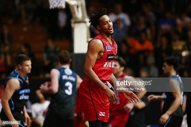 JeanPierre Tokoto of the Wildcats reacts after knocking down a three pointer during the round eight NBL match between the New Zealand Breakers and...