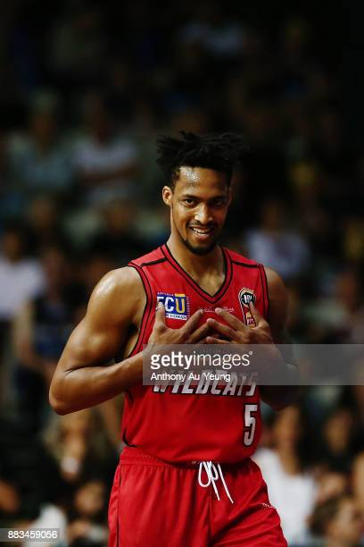 JeanPierre Tokoto of the Wildcats reacts during the round eight NBL match between the New Zealand Breakers and the Perth Wildcats at North Shore...