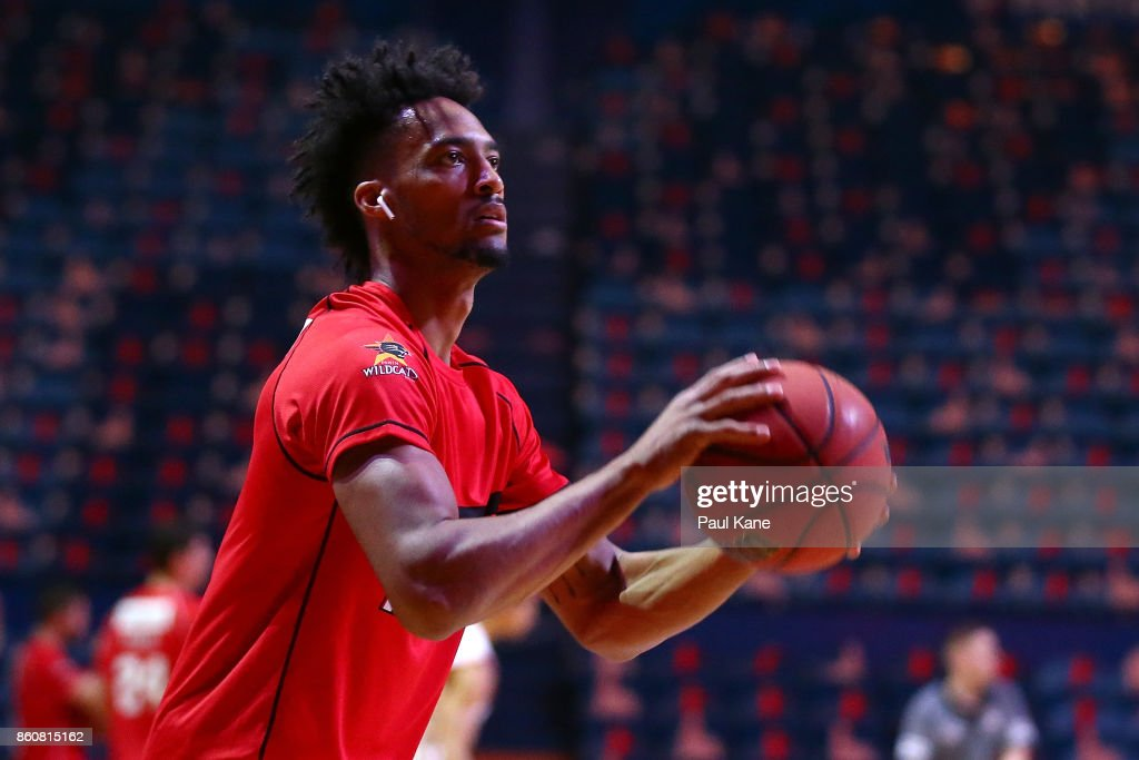 Jean-Pierre Tokoto of the Wildcats warms up before the round two NBL match between the Perth Wildcats and the Illawarra Hawks at Perth Arena on October 13, 2017 in Perth, Australia.