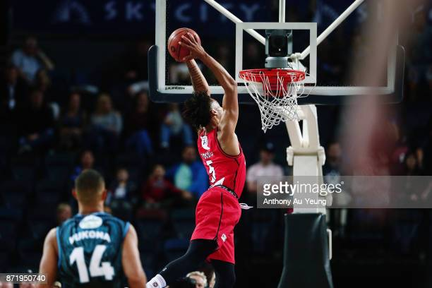 JeanPierre Tokoto of the Wildcats with a dunk during the round six NBL match between the New Zealand Breakers and the Perth Wildcats at Spark Arena...