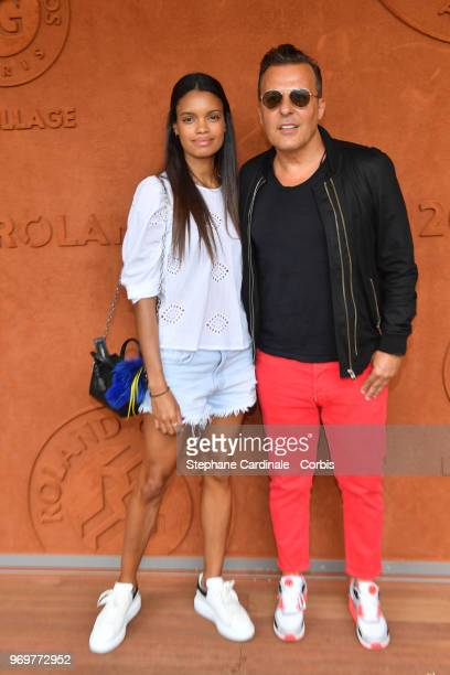 JeanRoch and his wife Anais Pedri Monory attend the 2018 French Open Day Thirteen at Roland Garros on June 8 2018 in Paris France