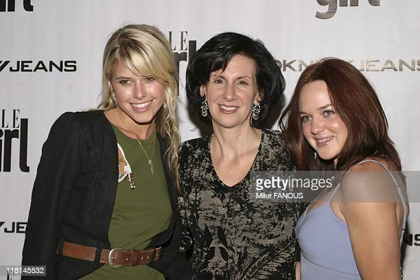 Jeans and ELLEGIRL Fashion Week Party in Hollywood United States on October 26 2004 Sarah Wright ELLEGIRL Publisher Deborah Burns and April Matson at...