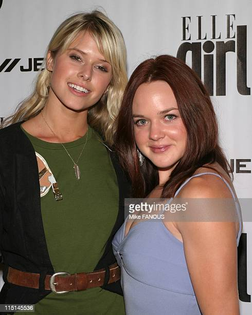 Jeans and ELLEGIRL Fashion Week Party in Hollywood United States on October 26 2004 Sarah Wright and April Matson at the DKNY Jeans and ELLEGIRL...