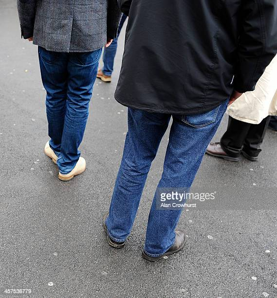 Jeans being worn in the Premier enclosure after a change of dress code at Newbury racecourse on December 18 2013 in Newbury England