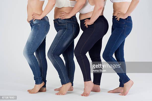 jeans fit for every shape. debica, poland - chubby legs stock photos and pictures