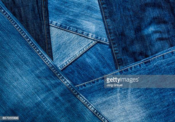 Jeans in various shades of blue