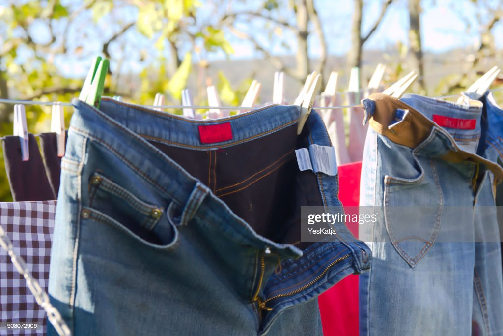 Jeans Trousers Laundry Drying Outdoors : Stock Photo