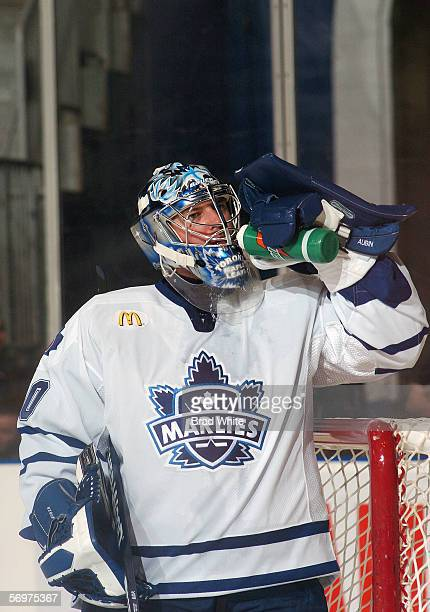 JeanSebastien Aubin of the Toronto Marlies takes a drink during the game against the Peoria Rivermen at Ricoh Coliseum on February 3 2006 in Toronto...