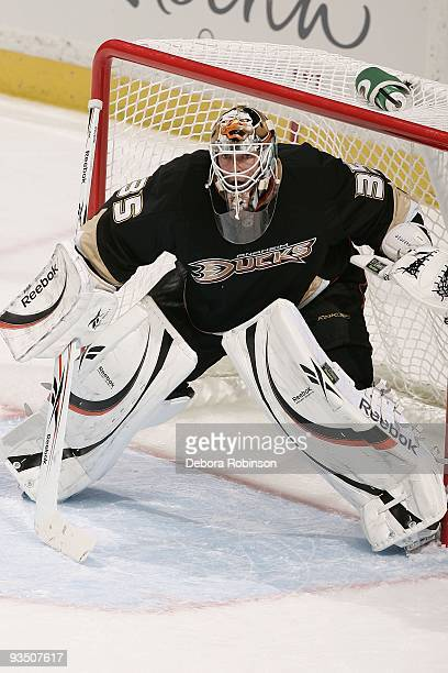 JeanSebastien Giguere of the Anaheim Ducks defends in the net during the game against the Carolina Hurricanes on November 25 2009 at Honda Center in...