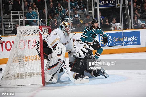 Jean-Sebastien Giguere of the Anaheim Ducks makes a save during an NHL game against the San Jose Sharks on December 26, 2009 at HP Pavilion at San...