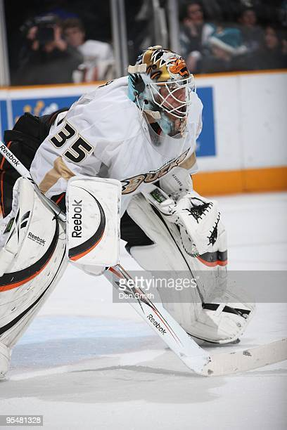 Jean-Sebastien Giguere of the Anaheim Ducks waits for play to begin during an NHL game against the San Jose Sharks on December 26, 2009 at HP...