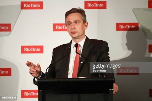 JeanSebastien Jacques chief executive officer of Rio Tinto Group speaks during an investor seminar in Sydney Australia on Monday Dec 4 2017 Rio Tinto...