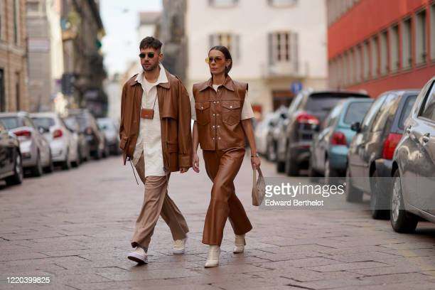 Jean-Sebastien Rocques and Alice Barbier are seen, outside Tod's, during Milan Fashion Week Fall/Winter 2020-2021 on February 21, 2020 in Milan,...