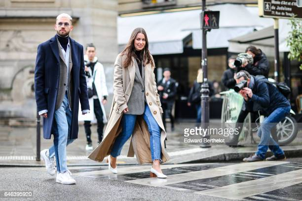 JeanSebastien Roques and Alice Barbier fashion bloggers from J'aime Tout Chez Toi are seen outside the JOUR/NE show during Paris Fashion Week...