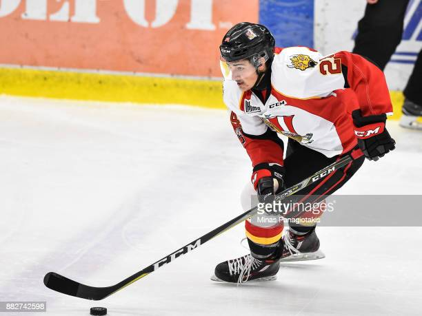 JeanSimon Belanger of the BaieComeau Drakkar skates the puck against the BlainvilleBoisbriand Armada during the QMJHL game at Centre d'Excellence...