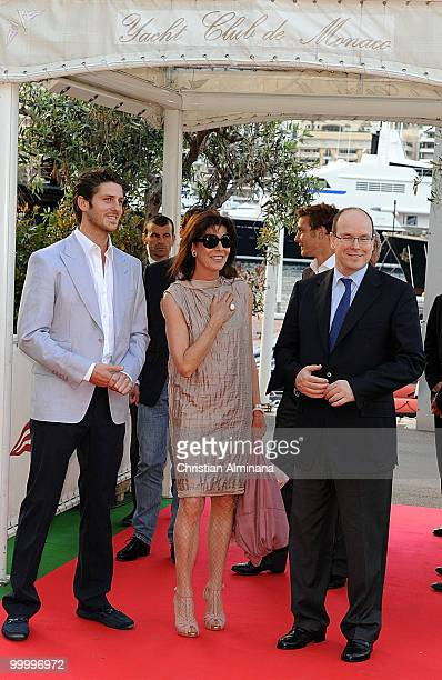 JeanThierry Bessin Princess Caroline of Hanover and HSH Prince Albert II of Monaco attend Graffiti Au Yacht Club De Monaco paint exhibition on May 19...