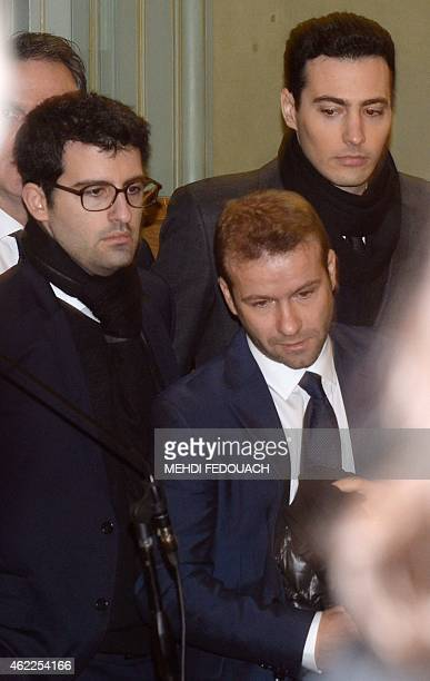 JeanVictor and Nicolas Bettencourt Meyers grandsons of France's richest woman L'Oreal heiress Liliane Bettencourt arrive with their lawyer Nicolas...