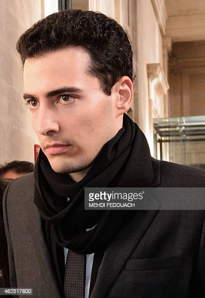 JeanVictor BettencourtMeyers grandson of France's richest woman Liliane Bettencourt leaves at the courthouse of Bordeaux southwestern France on...