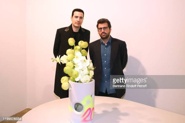 JeanVictor Meyers and Nicolas Meyers attend the Virgil Abloh Efflorescence Exhibition Preview at Kreo Gallery on January 14 2020 in Paris France