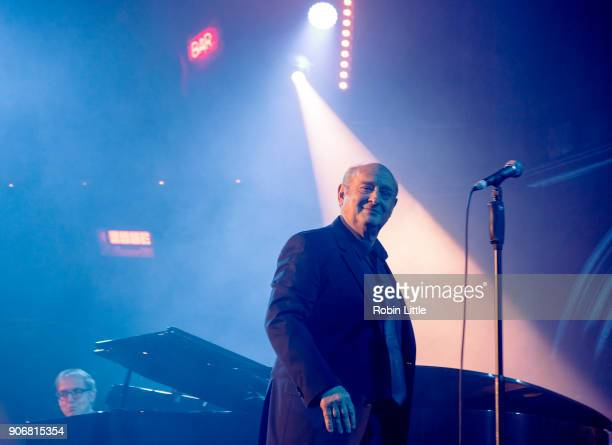 JeanYves d'Angelo and Michel Jonasz perform on stage at the Union Chapel on January 18 2018 in London England