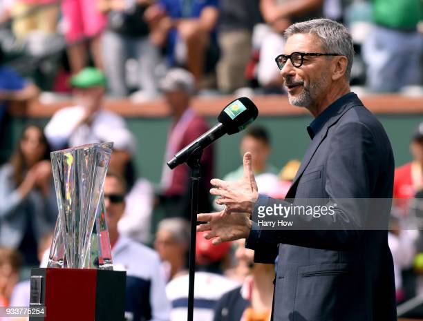 JeanYves Fillion speaks at the trophy presentation after the match between Daria Kasatkina of Russia and Naomi Osaka of Japan in the WTA final during...