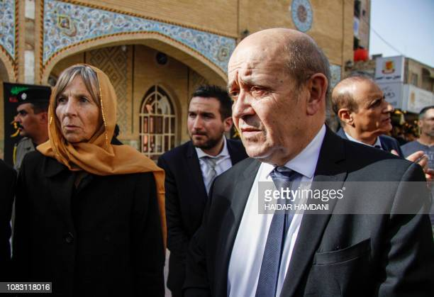 JeanYves Le Drian French Minister for Europe and Foreign Affairs visits the central Iraqi holy shrine city of Najaf on January 15 2019 France's top...
