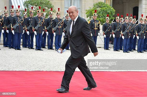 JeanYves Le Drian French Minister of Defense arrives for a strategic meeting with French President Francois Hollande and Mexican President Enrique...
