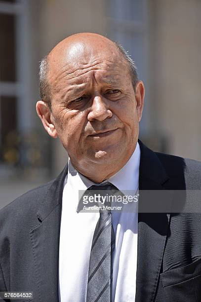JeanYves Le Drian Minister of Defence addresses the press after a restricted session of the council of security and defence at Elysee Palace on July...