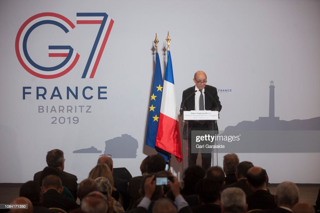 Jean yves le drian speaks during a press conference to launch the