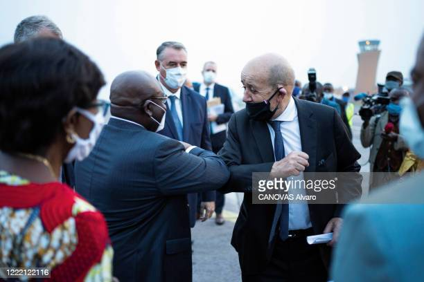 JeanYves Le Drian the french minister of Foreign Affairs traveling to Congo to inaugurate an air bridge to Africa as part of a humanitarian...