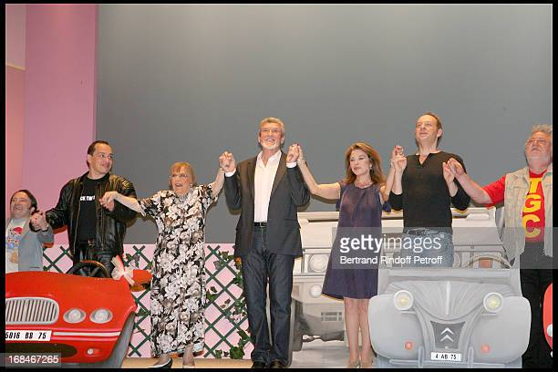 JeanYves Tual Mehdi Mado Maurin Patrick Prejean Nicole Calfan Alain Bouzigues and Vincent Grass at Full Dress Rehearsal Of Laurent Baffie's Theater...