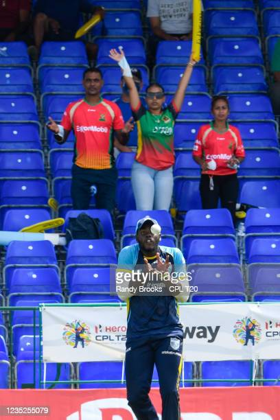 Jeavor Royal of Saint Lucia Kings takes the catch to dismiss Denesh Ramdin of Trinbago Knight Riders during the 2021 Hero Caribbean Premier League...
