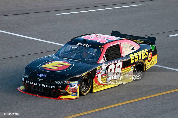 Jeb Burton driver of the Estes Ford practices for the NASCAR XFINITY Series Virginia529 College Savings 250 at Richmond International Raceway on...