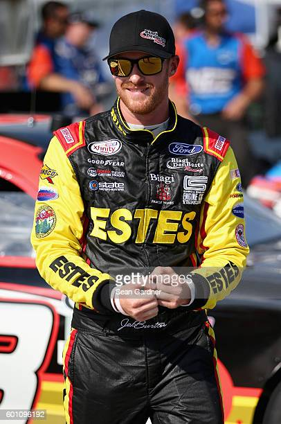Jeb Burton driver of the Estes Ford stands on the grid during qualifying for the NASCAR XFINITY Series Virginia529 College Savings 250 at Richmond...