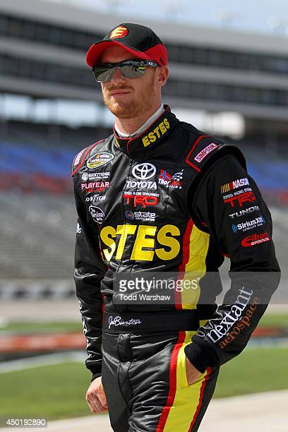 Jeb Burton driver of the Estes Toyota walks on pit road during NTT DATA Qualifying for the NASCAR Camping World Truck Series WinStar World Casino...