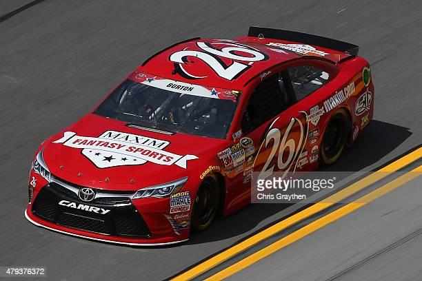 Jeb Burton driver of the Maxim Toyota practices for the NASCAR Sprint Cup Series Coke Zero 400 at Daytona International Speedway on July 3 2015 in...