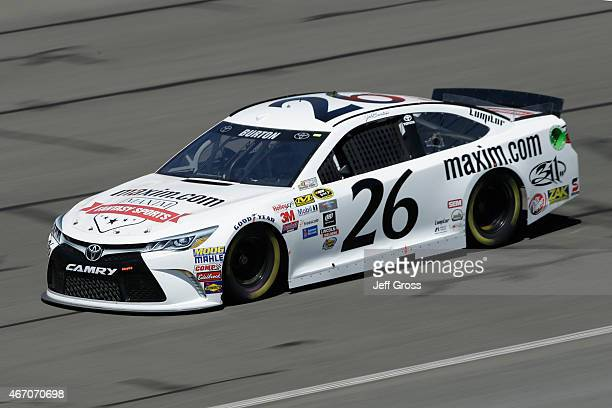 Jeb Burton driver of the Maximcom Toyota practices for the NASCAR Sprint Cup Series Auto Club 400 at Auto Club Speedway on March 20 2015 in Fontana...
