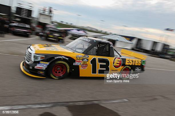 Jeb Burton driver of the No 13 EstesCarolina Nut Toyota during practice for the NASCAR Camping World Truck Series American Ethanol 200 presented by...