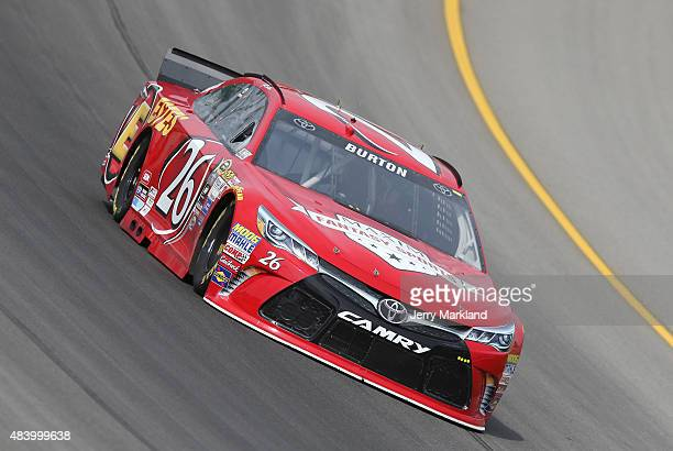 Jeb Burton drives the Maxim/Estes Toyota during practice for the NASCAR Sprint Cup Series Pure Michigan 400 at Michigan International Speedway on...