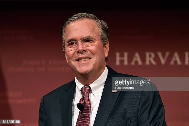 Jeb Bush delivers the Edwin L Godkin Lecture at Harvard University comoderated by Roland Fryer and Paul Peterson on September 29 2016 in Cambridge...