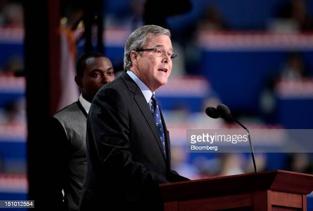 Jeb Bush former governor of Florida speaks at the Republican National Convention in Tampa Florida US on Thursday Aug 30 2012 Republican presidential...