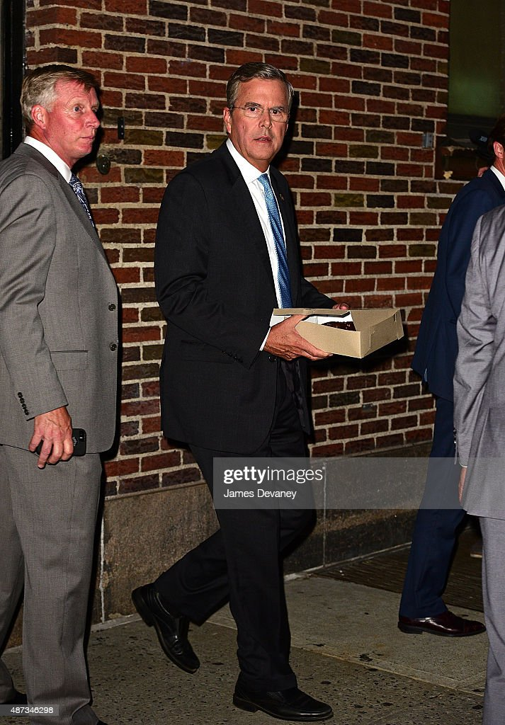 Jeb Bush leaves the first taping of 'The Late Show With Stephen Colbert' at Ed Sullivan Theater on September 8, 2015 in New York City.