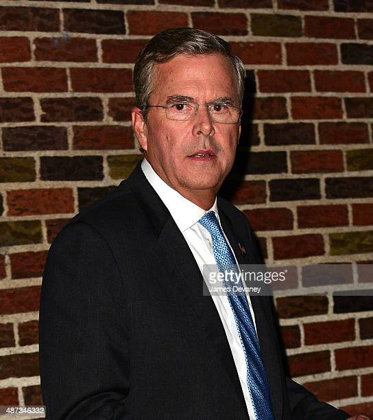 Jeb Bush leaves the first taping of 'The Late Show With Stephen Colbert' at Ed Sullivan Theater on September 8 2015 in New York City